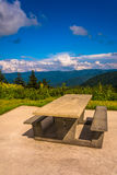 Picnic table and view of the Appalachian Mountains from the Blue Stock Photography