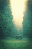 Picnic table with vintage effect. Picnic table on countryside with vintage effect Stock Photos