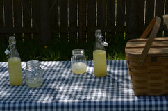 Picnic table with vintage picnic basket, blue checked table cloth. Bottles of lemonade and drinking jar glasses Royalty Free Stock Photography