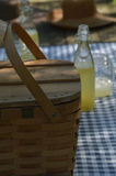 Picnic table with vintage picnic basket, blue checked table cloth. Bottles of lemonade and drinking jar glasses Royalty Free Stock Photo