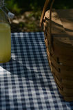 Picnic table with vintage picnic basket, blue checked table cloth. Bottles of lemonade and drinking jar glasses Royalty Free Stock Image