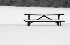 Picnic Table in Winter Royalty Free Stock Images