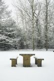 Picnic Table In Winter Stock Photos