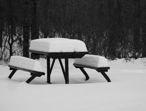 Picnic Table In Winter Stock Images