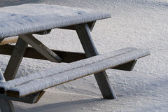 Picnic Table In Winter Royalty Free Stock Photography