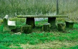 Picnic table in the woods Royalty Free Stock Photography