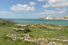 Picnic table by Worbarrow Bay Stock Photos
