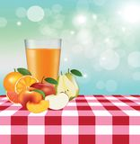 Picnic tablecloth with fruits. Vector illustration royalty free illustration