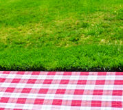 Picnic tablecloth on the table Royalty Free Stock Images