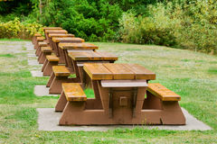 Picnic Tables Stock Photo