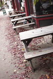 Picnic tables Royalty Free Stock Images