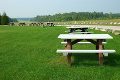 Picnic Tables. Picnic grove in the country in Michigan USA royalty free stock image