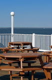 Picnic Tables. At an outdoor cafe with a beautiful view Royalty Free Stock Images