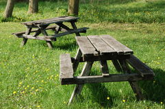 Picnic tables. Wooden picnic tables.  Valens.  Ontario.  Canada Royalty Free Stock Photos