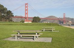 Picnic Tables. Await family and food in a park near San Francisco's Golden Gate stock photos