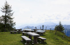 Picnic-tables and billboards, Carinthia, Austria Royalty Free Stock Images