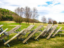 Picnic Tables in the Park Stock Image