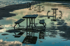 Picnic Tables at Presqu'ile Stock Images