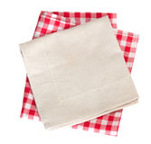 Picnic & textured cotton kitchen cloth isolated. Stock Image