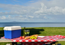 Picnic Time. A prepared picnic table with a sea view Royalty Free Stock Image