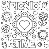 Coloring page. Vector illustration. Picnic time. Coloring page. Black and white vector illustration Royalty Free Stock Photography