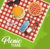 Picnic time design. With red gingham pattern blanket and food over green background. Vector illustration Stock Photos