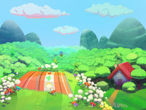 Picnic time on the hill near granny's house drawn in cartoon style Royalty Free Stock Image