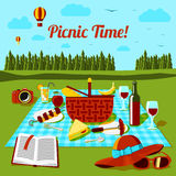 Picnic time poster with different food and drink Stock Images