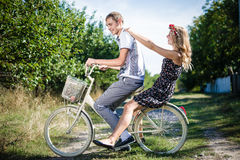Picnic time romantic walk with bicycle Stock Images