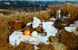 Picnic on top of a mountain in the Carpathian mountains Royalty Free Stock Photography