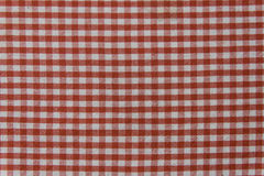 Picnic towel with white and red stripes Stock Photo