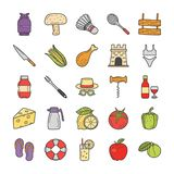 Picnic, Travel, Holidays Icons Bundle stock illustration