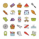 Picnic, Travel, Holidays Icons Collection royalty free illustration