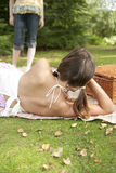 Picnic Two Girls Stock Images