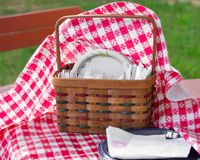 Picnic Utensil Basket Royalty Free Stock Photography