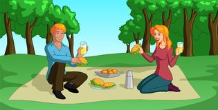 Picnic. Vector illustration of a happy blonde couple having a lovely picnic Stock Photography