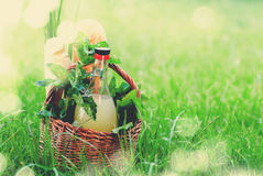 Picnic Wattled Basket Mint Drink Fresh Bread Grass Stock Photography