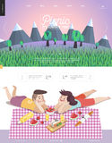 Picnic, web template with lilac sky Stock Photos