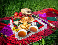 Picnic whit Kazakh traditional food Stock Photo