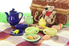 Picnic with wicker basket Royalty Free Stock Image