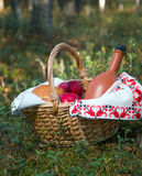 Picnic wicker basket with patty Stock Photography