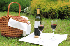 Picnic with wine Stock Photo