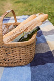 Picnic of wine and baguettes Royalty Free Stock Image