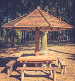 Picnic wooden table and benches haze effect Royalty Free Stock Photo
