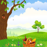Picnic in the woods. Illustration of a picnic scene in the woods stock illustration