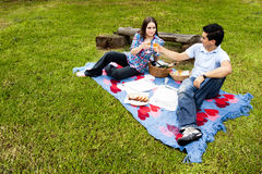 Picnic with young and happy couple in spring Royalty Free Stock Images