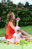 Picnic, a young mother with a child on the nature Royalty Free Stock Image