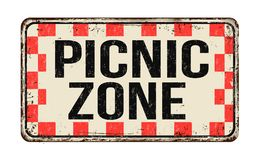 Picnic zone vintage rusty metal sign. On a white background, vector illustration vector illustration