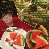 Summer Picnic Basket. Picnic basket watermelon summer Stock Images