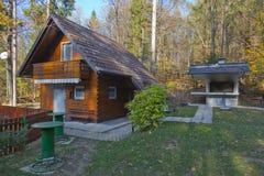 Picnick ställe i en skog Fotografering för Bildbyråer